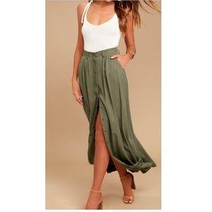 PISTOLA My Squad Olive Green Maxi Skirt Medium